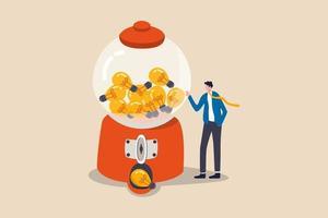 idee di business, creatività, start up e imprenditore o concetto di simbolo della lampadina dell'innovazione, uomo d'affari intelligente con un sacco di idee in piedi con la macchina gumball con abbondanza di idee lampadina. vettore