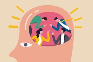 le persone che fanno il brainstorming per una grande idea e la soluzione aziendale, il lavoro di squadra o la collaborazione discutono il concetto di pensiero creativo, le persone dell'ufficio di affari che fanno il brainstorming nel cervello umano con effetto lampadina brillante. vettore