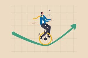 rischio di investimento, assicurazione, opportunità di business per crescere nel concetto di crisi economica, investitore di fiducia uomo d'affari con gli occhi bendati e coltelli da giocoliere in sella a un monociclo una ruota sul grafico in aumento verde vettore