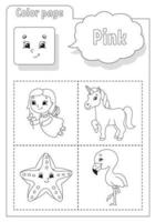 libro da colorare rosa. imparare i colori. flashcard per bambini. personaggi dei cartoni animati. set di immagini per bambini in età prescolare. foglio di lavoro per l'istruzione. illustrazione vettoriale. vettore