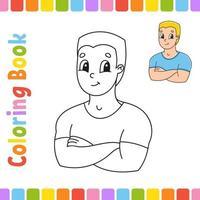 libro da colorare per bambini con un uomo. carattere allegro. illustrazione vettoriale. stile cartone animato carino. pagina fantasy per bambini. sagoma contorno nero. isolato su sfondo bianco. vettore