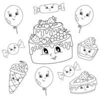 libro da colorare per bambini. tema di buon compleanno. personaggi allegri. illustrazione vettoriale. stile cartone animato carino. sagoma contorno nero. isolato su sfondo bianco. vettore
