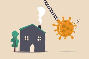 impatto sul mercato immobiliare e immobiliare dal concetto di crisi del coronavirus covid-19, coronavirus palla da demolizione in procinto di schiantarsi su una casa pacifica. vettore