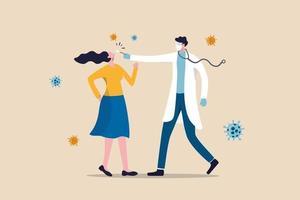 test covid-19, campionamento del coronavirus mediante prelievo nasale dalla bocca o dal naso e diagnosi del concetto di virus, medico o personale medico utilizzando il test covid-19 con paziente donna in giro con patogeno del coronavirus. vettore