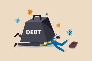 Il crollo economico del coronavirus causa un grande debito per il concetto di affari e disoccupazione, il povero uomo d'affari depresso e senza lavoro che indossa la maschera per il viso non può muoversi sdraiato sotto l'enorme peso del debito con il virus. vettore