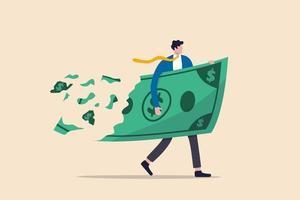 perdere denaro investendo in crisi finanziaria, profitti e perdite negli affari o deflazione e concetto di inflazione, uomo d'affari che tiene i soldi delle banconote in un grande dollaro mentre la perdita, si sbriciola e si riduce di valore. vettore