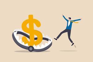 trappola di denaro finanziario, rischio negli investimenti, schema ponzi o concetto di trappola aziendale, investitore uomo d'affari che corre e salta nella trappola del denaro della tradizione o trappola per topi con esca del segno del dollaro. vettore