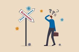 mercato azionario in aumento nella recessione della recessione economica a causa del concetto di epidemia di coronavirus covid-19, l'investitore uomo d'affari che confonde con il segnale stradale mostra recessione economica e rialzo del mercato azionario. vettore