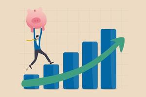 stock di crescita, prosperità economica o ritorno di crescita nel risparmio e nel concetto di investimento, investitore uomo d'affari fiducioso tenere un ricco salvadanaio rosa che cammina verso l'alto grafico a barre del mercato azionario freccia verde. vettore