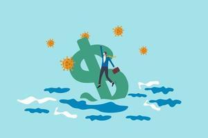 America senza lavoro e crisi di disoccupazione da coronavirus covid-19 o economia di recessione e concetto di crollo finanziario, uomo d'affari senza lavoro che tiene il segno del dollaro americano che affonda nell'oceano con agente patogeno del virus. vettore