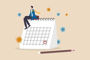 Coronavirus covid-19 calendario della quarantena, piano per riaprire l'attività dopo il concetto di blocco covid-19, imprenditore imprenditore seduto sul calendario desktop pensando al piano dopo il blocco. vettore