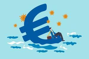 recessione economica dell'euro dall'epidemia di coronavirus covid-19, concetto di politica di stimolo della banca centrale europea, uomo d'affari senza speranza seduto sul simbolo della valuta euro che affonda nel mare con l'agente patogeno del virus. vettore