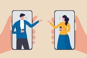 videoconferenza durante l'epidemia di coronavirus covid-19, le persone che utilizzano la tecnologia lavorano a casa in remoto concetto, uomo e donna compagno di squadra che lavora a distanza utilizzando smartphone o telefono cellulare per la riunione. vettore
