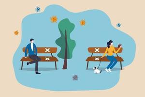 pandemia di coronavirus covid-19 di distanziamento sociale, nuove persone normali che indossano una maschera protettiva mantengono la distanza nel concetto pubblico, le persone sedute tengono la distanza nel parco pubblico con il cartello sulle sedie. vettore