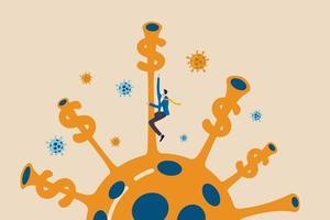 denaro di stimolo nella crisi economica del coronavirus covid-19, finanziamento pandemico per aiutare l'azienda e l'imprenditore a sopravvivere al concetto, imprenditore imprenditore che arrampica agente patogeno del virus per raggiungere i soldi del dollaro. vettore