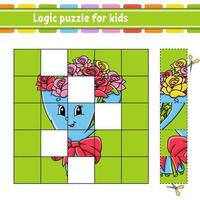 puzzle di logica per bambini. foglio di lavoro per lo sviluppo dell'istruzione. gioco di apprendimento per bambini. pagina delle attività. semplice illustrazione vettoriale isolato piatto in stile cartone animato carino.