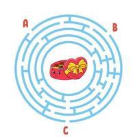 labirinto di cerchio. gioco per bambini. puzzle per bambini. enigma labirinto rotondo. illustrazione vettoriale di colore. trova la strada giusta. foglio di lavoro per l'istruzione.