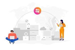 trasferimento dati con tecnologia cloud internet vettore