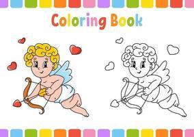 libro da colorare per bambini angelo. personaggio dei cartoni animati. illustrazione vettoriale. pagina fantasy per bambini. San Valentino. sagoma contorno nero. isolato su sfondo bianco. vettore