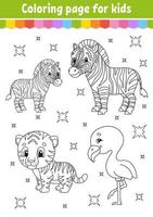 libro da colorare per bambini. carattere allegro. illustrazione vettoriale. stile cartone animato carino. pagina fantasy per bambini. sagoma contorno nero. vettore