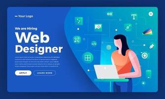 pagina di destinazione per l'annuncio dell'assunzione di web designer vettore