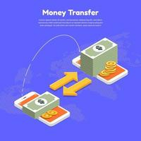 due smartphone che trasferiscono denaro online vettore