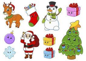 set di adesivi con simpatici personaggi dei cartoni animati. tema natalizio. disegnato a mano. confezione colorata. illustrazione vettoriale. collezione di badge patch. elementi di design dell'etichetta. per pianificatore quotidiano, diario, organizzatore. vettore