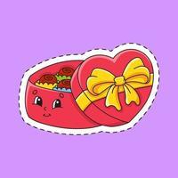 adesivo con scatola di caramelle contorno. personaggio dei cartoni animati. illustrazione vettoriale colorato. isolato su sfondo di colore. modello per il tuo design.