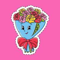 adesivo con bouquet di contorno. personaggio dei cartoni animati. illustrazione vettoriale colorato. isolato su sfondo di colore. modello per il tuo design.