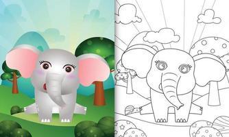 libro da colorare per bambini con un simpatico personaggio di elefante vettore