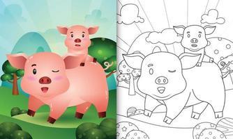 libro da colorare per bambini con un simpatico personaggio di maiale illustrazione vettore