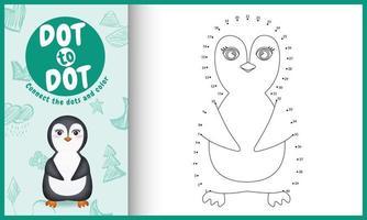 collega il gioco di puntini per bambini e la pagina da colorare con un simpatico personaggio di pinguino vettore