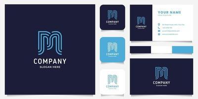 logo della lettera m di arte linea semplice e minimalista con modello di biglietto da visita vettore