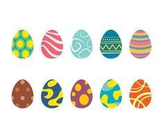 set di uova di Pasqua isolato in uno sfondo bianco. vettore moderno nuovo design con diversi colori e modelli.