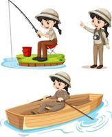 personaggio dei cartoni animati di una ragazza in tenuta da campeggio che fa diverse attività vettore