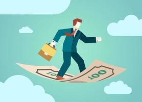 uomo d'affari con valigetta diplomatico vola in piedi sulla banconota dei soldi. concetto di finanza marketing aziendale. illustrazione vettoriale piatta