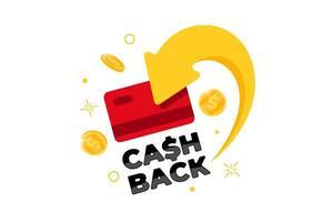 concetto di programma fedeltà cashback. carta di credito o di debito con monete restituite sul conto bancario. rimborso del servizio di denaro design. bonus cash back simbolo illustrazione vettoriale