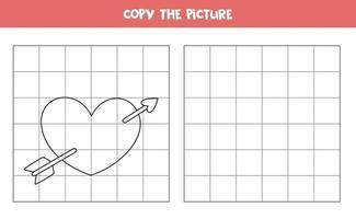 copia l'immagine. cuore di San Valentino simpatico cartone animato. gioco logico per bambini. vettore