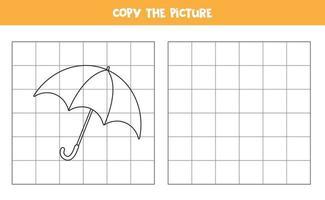 copia l'immagine dell'ombrello dei cartoni animati. gioco educativo per bambini. pratica della scrittura a mano. vettore