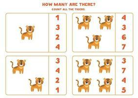 conteggio del gioco di matematica con tigri simpatico cartone animato. vettore