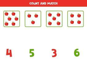 conteggio del gioco per bambini. gioco di matematica con le mele dei cartoni animati. vettore