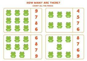 conteggio del gioco di matematica con rane simpatico cartone animato. vettore