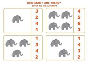conteggio del gioco di matematica con elefanti simpatici cartoni animati. vettore