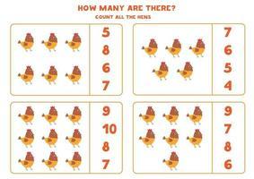 conteggio del gioco di matematica con galline simpatico cartone animato. vettore