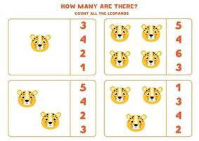 conteggio del gioco per bambini. gioco di matematica con facce di leopardo dei cartoni animati. vettore