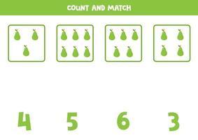 conteggio del gioco per bambini. gioco di matematica con le pere dei cartoni animati. vettore