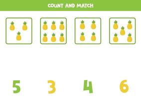 conteggio del gioco per bambini. gioco di matematica con ananas dei cartoni animati. vettore