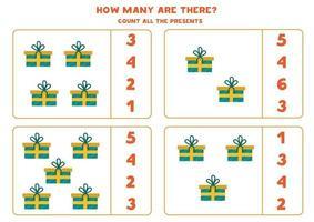 conteggio del gioco di matematica con regali di Natale colorati dei cartoni animati. vettore