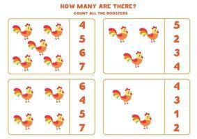 conteggio del gioco per bambini. gioco di matematica con galli dei cartoni animati. vettore