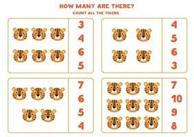 conteggio del gioco per bambini. gioco di matematica con tigre cartone animato. vettore